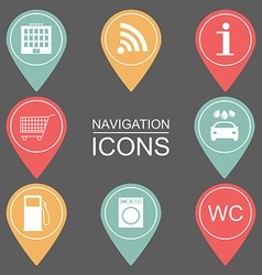 Set of navigation icons outlined icons public vector