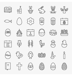Happy easter line icons big set vector