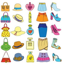 Set of shoes handbags skirts hats and perfume vector