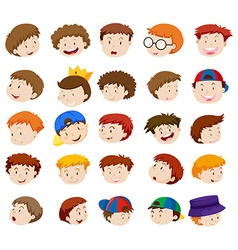 Different emotions of little boys vector