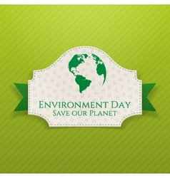 World environment day badge and ribbon vector