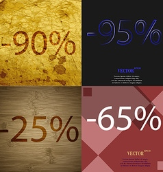 95 25 65 icon set of percent discount on abstract vector