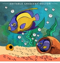 Colorful aquarium fishes vector