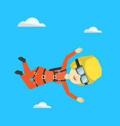 asian parachutist jumping with parachute vector image vector image