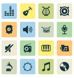 Audio icons set with lyre barrel meloman and vector