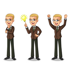 blonde businessman getting ideas gesture vector image vector image