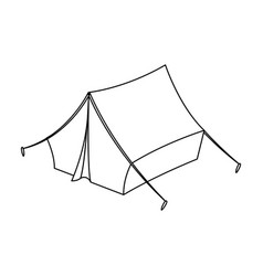 blue tent with pegshippy single icon in outline vector image