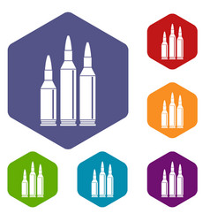 bullet ammunition icons set vector image
