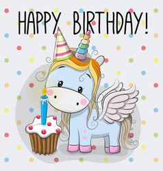 Cute cartoon unicorn vector