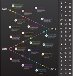 Descending timeline with rainbow milestones and vector