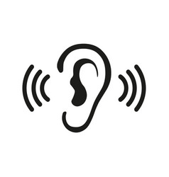 ear listening hearing audio sound waves vector image
