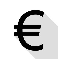 euro sign black icon with flat style shadow path vector image vector image