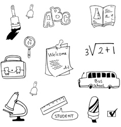 Flat hand draw element student in doodle vector