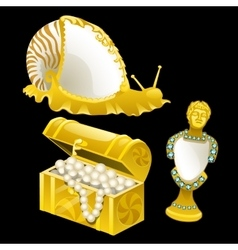 Golden figurines of shells snails and bust vector