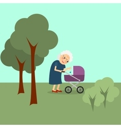 Grandmother with baby stroller vector