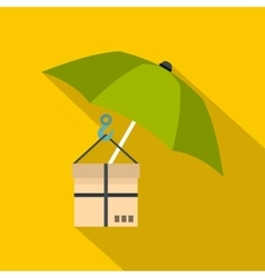 Green umbrella and a cardboard box icon flat style vector image