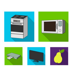 Home appliances and equipment flat icons in set vector
