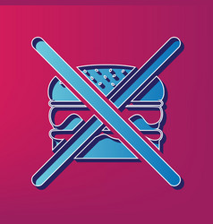 No burger sign blue 3d printed icon on vector