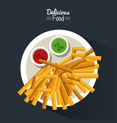 Poster delicious food in black background with vector