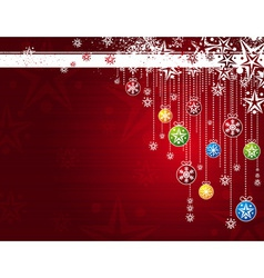 red card with christmas balls vector image vector image