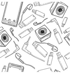 Seamless pattern of electronic gadget vector