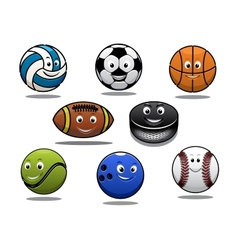 Set of cartoon sports balls equipment vector image