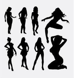 sexy female action silhouette vector image vector image