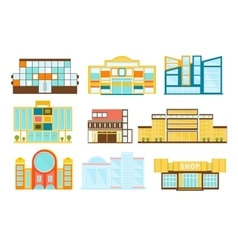 Shopping mall buildings exterior design set vector
