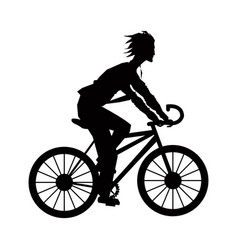 silhouette young man riding bicycle sport vector image