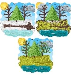 Spring round pixels art vector image