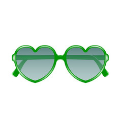 sun glasses in shape of heart in green design vector image vector image