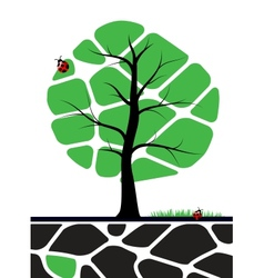 Tree with green leafs vector image vector image