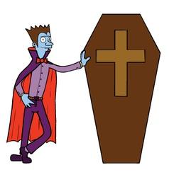 Vampire and coffin cartoon vector image vector image