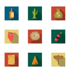 Wild west set icons in flat style Big collection vector image vector image