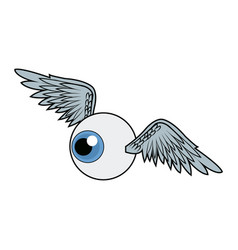 Wings and eye urban art and graffiti design vector