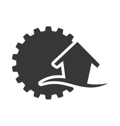 Gear house ecology silhouette design vector