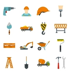 Construction icons set flat style vector image