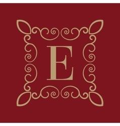 Monogram letter e calligraphic ornament gold vector