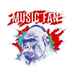 Gorilla listening to music on headphones vector