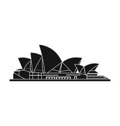 Sydney Opera House icon in black style isolated on vector image