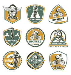 Colored vintage biking labels set vector