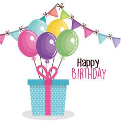 Happy birthday card with giftbox vector