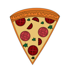 Color image cartoon slice pizza of pepperoni vector