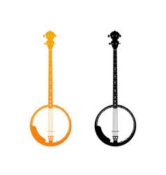 Golden icon of banjo vector