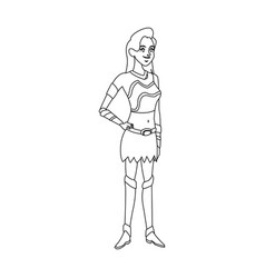 Cartoon female warrior with a spear vector
