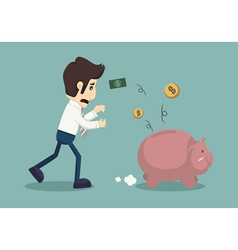 Businessman lose money vector