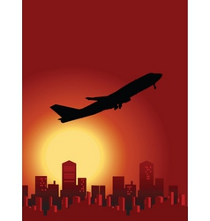 sunset flight vector image