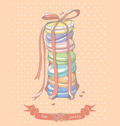 Colorful stack of macaroons vector