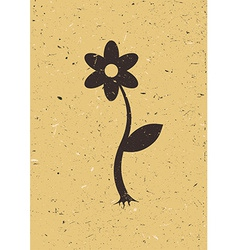 Flower on old cardboard vector