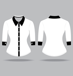 Blank shirt with long sleeves template for woman vector